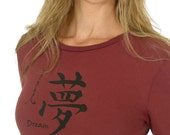 SALE Women's Carnberry DREAM Long Sleeve T-Shirt Bamboo Organic Cotton Japanese Calligraphy
