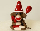 Baby Sock Monkey Mini with Birthday Balloon Hat and Gift or Number Miniature