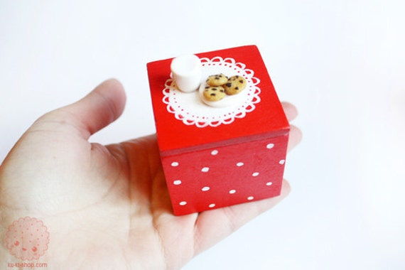 Milk and Cookies Box - hand painted and hand sculpted - jewelry box