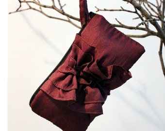 Burgundy Wedding Clutch- Maroon Ruffle Purse with Wrist Strap for Bridesmaid- Dark Red Bridal Clutch