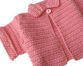 Pink Short Sleeve Sweater. Girls Crochet Cardigan Sweater. Childs Swing Style Cardi. Kids Sweater With Collar. Toddler 12 to 18 Months
