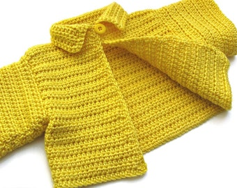 Bright Yellow Crochet Baby Sweater. Toddler 12 to 18 Months Cardigan. Childs Short Sleeve Swing Style Cardi With Collar
