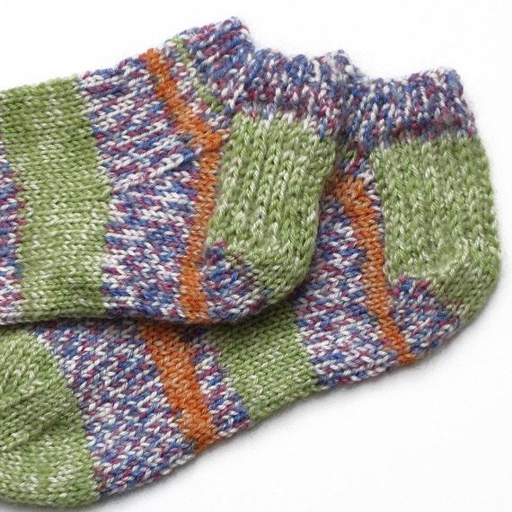 Childrens Low Cut Sport Socks . Handknit Wool Sox . Green Purple Orange Footie . Kids Bed Socks