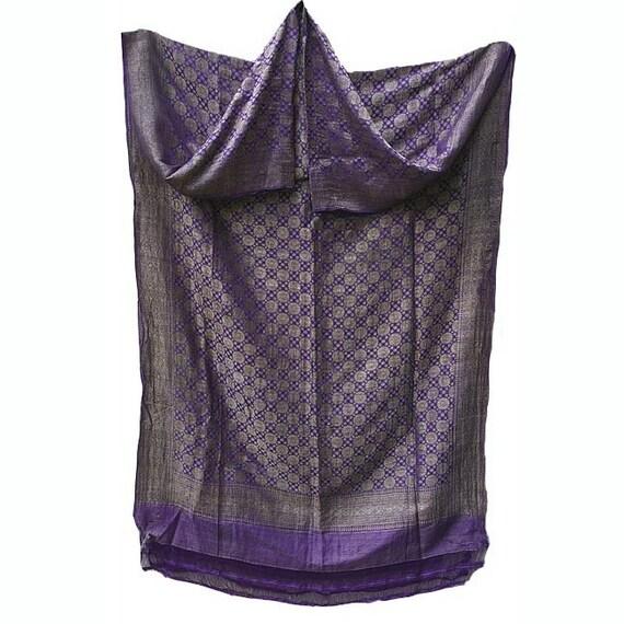 Vintage Silk Sari:  India- Royal Purple, Metallic Thread, 3