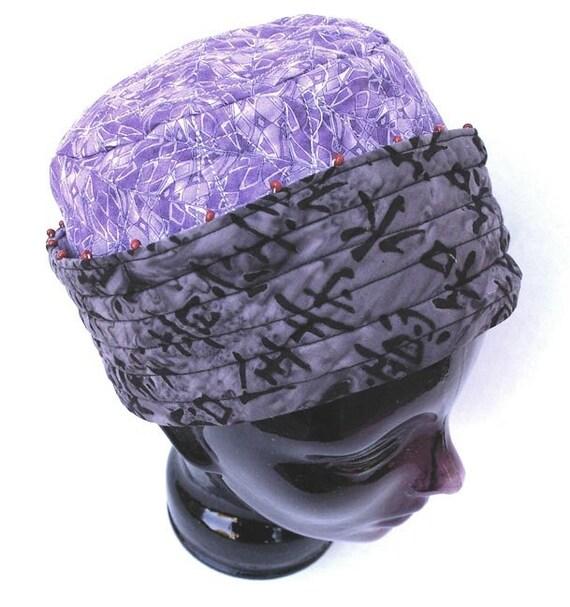 Reversible Cotton Hat: Quilted Batik, Purple/Black Roll Up