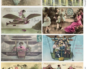 FANTASY SURREALISM Vintage Postcards - Instant Download Digital Collage Sheet