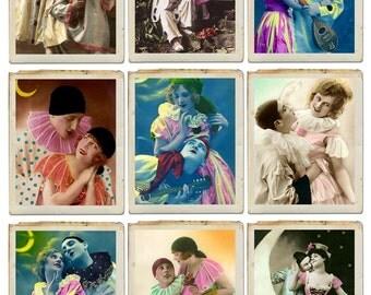 JUST CLOWNING AROUND Vintage Images - Instant Download Digital Collage Sheet