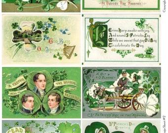 Vintage St Patricks Day Postcards 2 - Instant Download Digital Collage Sheet