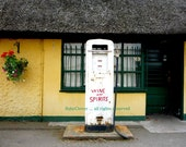 Wine and Spirits straight from the Pump, Co. MEATH, Retro Petrol Pump, Irish Photography, Quintessential IRELAND, Slane, Colorful Shop Front