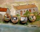 Irish Magnets, Ireland Animals, Emerald Isle, Irish Gift, Magnet Set, Sheep, Horse Lover, Brown Cow, Set of 4, Decoupage, St. Patricks Day