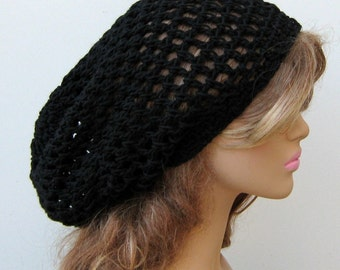 Slouchy hat, Larger black Hemp cotton Hippie Dread Tam Snood hat slouchy beanie