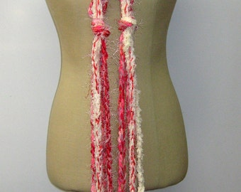 Sale Scarf, Strawberry Cream braids Gypsy Fringe Scarf skinny lariat Hippie neck wear, crochet woman teen scarf