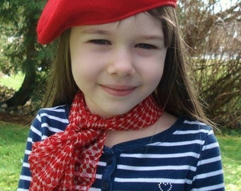 Red Beret - French Beret - Felt Hat - Child Hat - French Artist - Costume Accessory