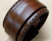 Leather cuff Bracelet Brown hand stitched suede lined custom crafted for You in USA by Freddie Matara