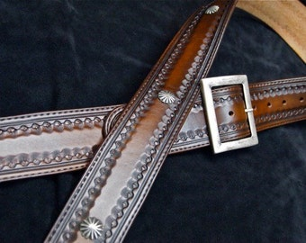 Leather Guitar Strap hand made using fine Western techniques in NYC by Freddie Matara Old West Cowboy Style