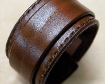 Leather cuff Bracelet Brown hand stitched suede lined custom crafted for You in NYC by Freddie Matara