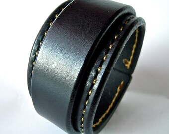 Leather cuff wristband Black Bracelet with Gold stitching handmade for YOU in NYC by Freddie Matara
