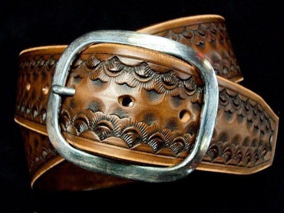 Leather Belt Brown Custom Hand Tooled made for YOU in New York   by Freddie Matara