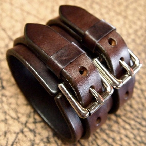 Leather cuff bracelet Double strap rich brown bridle Leather wristband slick and smooth Custom made for you in NYC by Freddie Matara