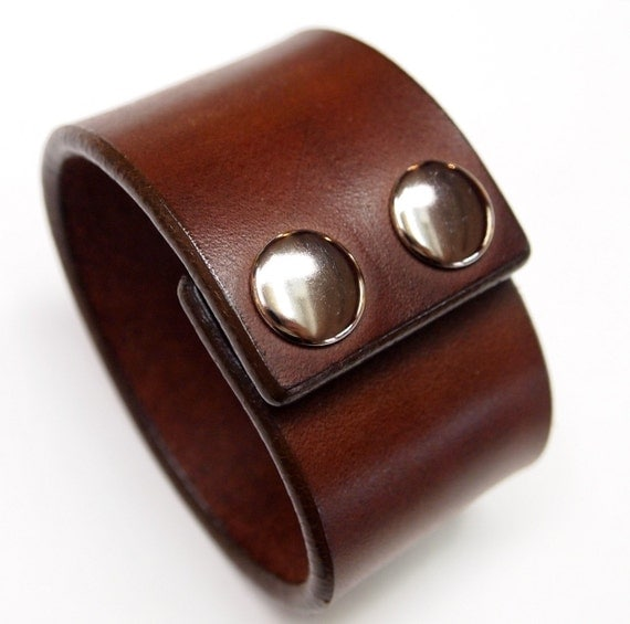 Leather cuff bracelet Brown Bridle Leather wristband Custom made for You in USA by Freddie Matara using refined techniques