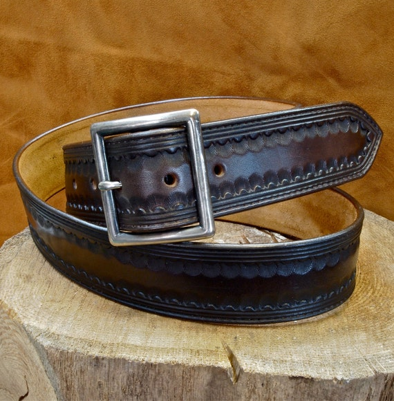 """Brown leather belt Tooled Western border Distressed buckle 1-3/4"""" wide handmade for YOU in NYC by Freddie Matara"""