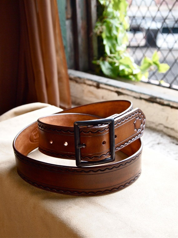 Leather tooled belt made in Brooklyn NYC USA