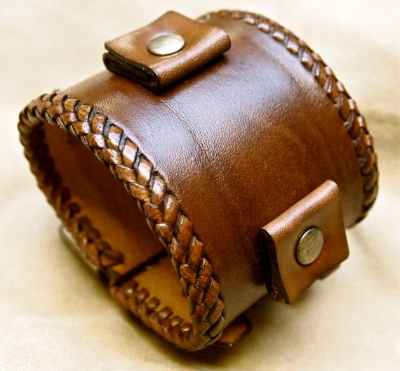 Leather bracelet Brown wristband cuff Vintage Johnny Depp style watchband cuff Best quality Made for YOU in NYC by Freddie Matara