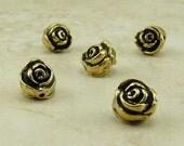 5 TierraCast Rose Flower Beads > Floral Bride Bridal Wedding Garden Spring - 22kt Gold Plated Lead Free Pewter - I ship Internationally 5611