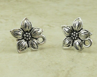 1 Pair TierraCast Star Jasmine Flower Beadable Earring Post with Silicone Backs - Silver Plated Lead Free Pewter I ship Internationally 1073