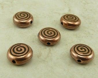 5 TierraCast Celtic Spiral Swirl Beads > Irish St Patrick's Day Dolman - Copper Plated Lead Free Pewter - I ship internationally 5544