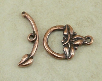 1 TierraCast 3 Leaf Toggle Clasp - Copper Plated Lead Free Pewter - I ship Internationally - 6103