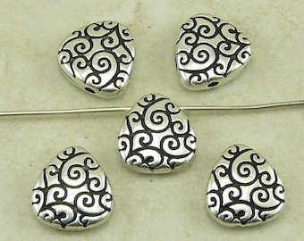5 TierraCast Briolette Scroll Beads > Egg Shaped Spiral Swirl - Silver Plated Lead Free Pewter - I ship Internationally
