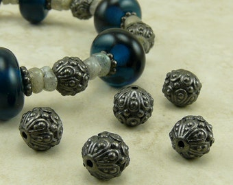 5 TierraCast Ornate Casbah Round Beads > Exotic Bali Style - Black Ox Plated Lead Free Pewter - I ship internationally 5626
