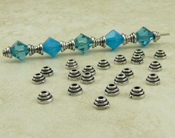 20 TierraCast 4mm Tiny Stepped Bead Caps > Small Bead Cap - Silver Plated Lead Free Pewter - I ship Internationally 5597