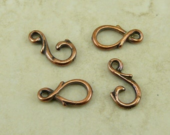2 TierraCast Vine Hook and Eye Clasps > Art Nouveau Victorian Ornate - Copper Plated Lead Free Pewter - I ship internationally 6106