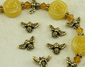 5 TierraCast Honey Bee Beads Bumble Bee > Honeybee Insect Bug - 22kt Gold Plated Lead Free pewter - I ship Internationally 5519