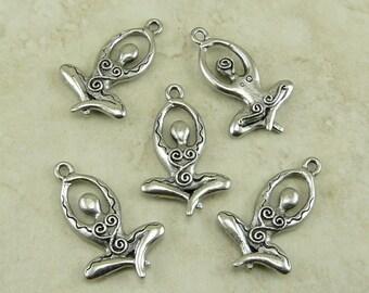 Meditating Goddess Fertility Pendant Charm / Lotus Yoga Meditate Zen Buddhist American Made Lead Free Silver Pewter I ship Internationally