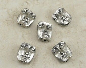 5 Two Sided Face Beads > Head Facial Doll Human Ephemera Mixed Media - Raw American made Lead-Free Pewter - I ship internationally