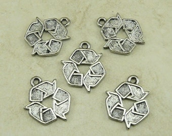 5 Recycled Recycle Symbol Charms > Green Living Earth Day - Raw Unfinished American made Lead Free Pewter - I ship internationally