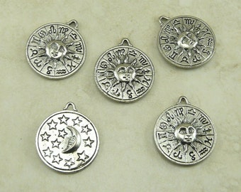 Celestial Zodiac Pendant Charms > Moon Sun Astrology Fortune Telling - Raw American made,  Lead-Free Pewter - I ship internationally
