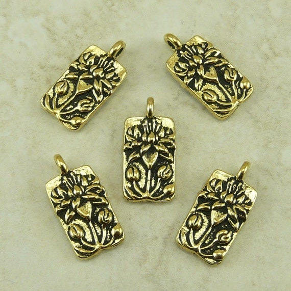 5 TierraCast Floating Lotus Flower charms > Yoga Zen Bridal Jewelry -  22kt Gold Plated Lead Free pewter - I ship Internationally 2183