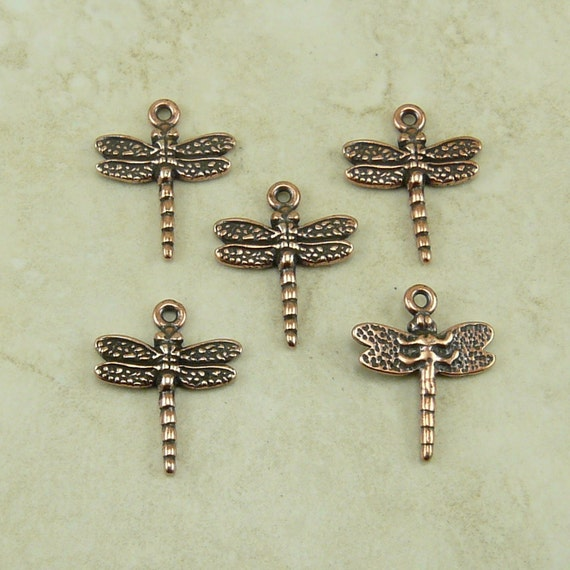 5 TierraCast Dragonfly Dragon Fly Charms > Damsel Fly Insect Bug Garden Spring - Copper Plated Lead Free Pewter I ship Internationally 2119