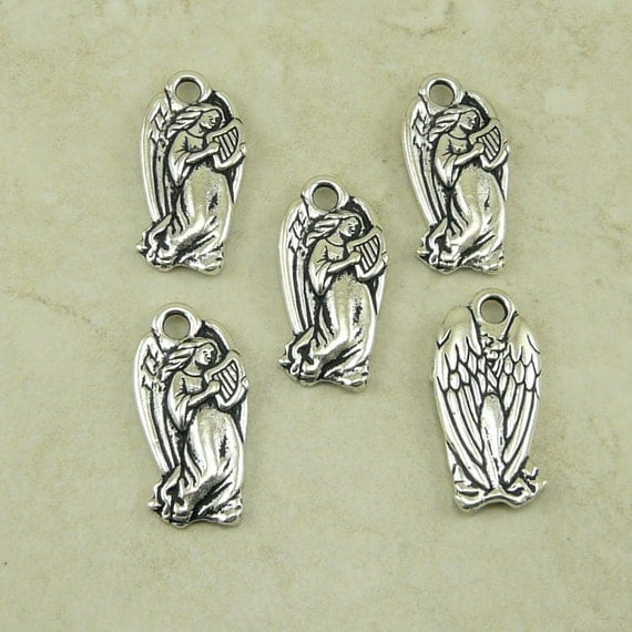 5 TierraCast Angel with Harp Charms - Holiday Christmas Guardian Weeping - Silver plated Lead Free Pewter - I ship Internationally 2356