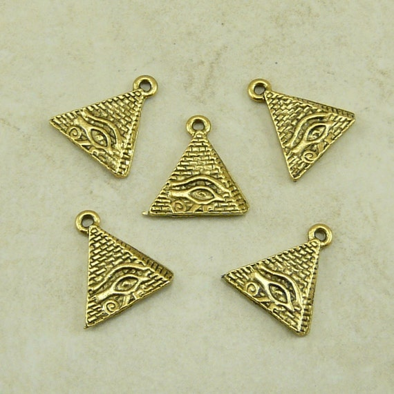5 Eye of Ra Egyptian Pyramid Charms > Giza King Tut Cleopatra - Raw American Made Lead Free Pewter Gold Tone Finish - I ship internationally