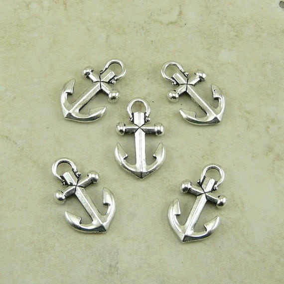 5 Small TierraCast Boat Anchor Charms > Nautical Tattoo Sailing Ocean Yacht - Silver Plated Lead Free Pewter - I ship Internationally 2359