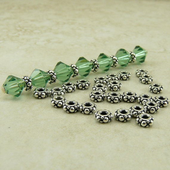 25 TierraCast Tiny Turkish Spacer Beads > Ornate Bali Style Beaded Bumpy - Fine Silver Plated LEAD FREE Pewter 0425