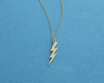gold lightning bolt necklace | gold vermeil charm| 14kt gold filled chain | jewelry for her