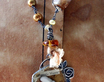 Mixed Media Necklace Sterling Silver, Vintage Buttons, Citrine, Pearls, Fabric- Reliquary No.5