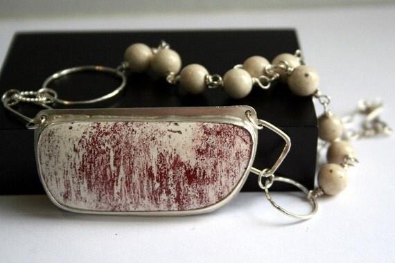 Red & White Stone Sterling Silver Statement Necklace - Alunite