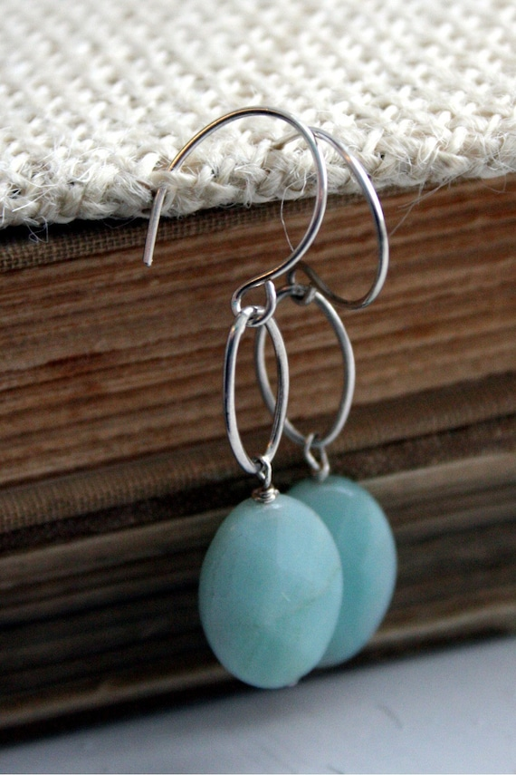 Blue Amazonite Stone & Sterling Silver Earrings